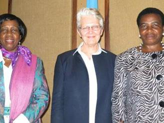 At the opening today of the 4th Africa Platform on Disaster Risk Reduction, (l. to r.) African Union Commissioner for Rural Economy and Agriculture, H.E. Tumusiime Rhoa Peace, Margareta Wahlstrom, UNISDR Chief, and the Minister for the Environment, United Republic of Tanzania, Dr. Terezya Huvisa.