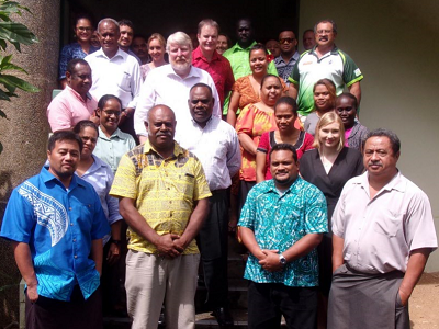 Participants at the recent Sendai Framework Monitor training in Suva, Fiji, supported by the Australian government