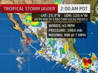 Mexico is on alert for Tropical Storm Javier which is threatening its Pacific coast with torrential rain and heavy seas.