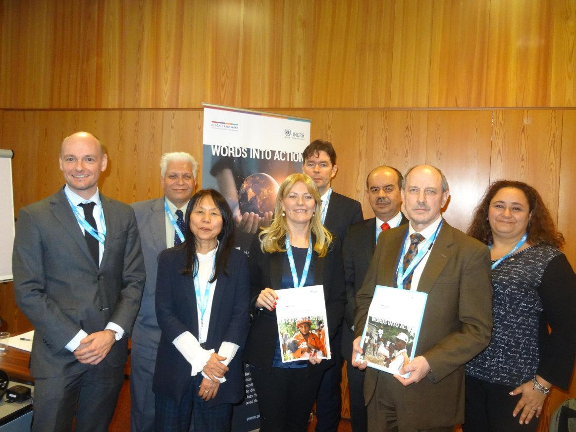 Words into Action launch: (from left) Fred Copper, WHO, Rajan Gengaje, UNDRR consulant, Masayo Kondo, OCHA, Paola Albrito, UNDRR, Jens Kampelmann, Consultant, Nelson Castaño, IFRC, Rudi Müller, OCHA, and Marjorie Soto Franco, IFRC