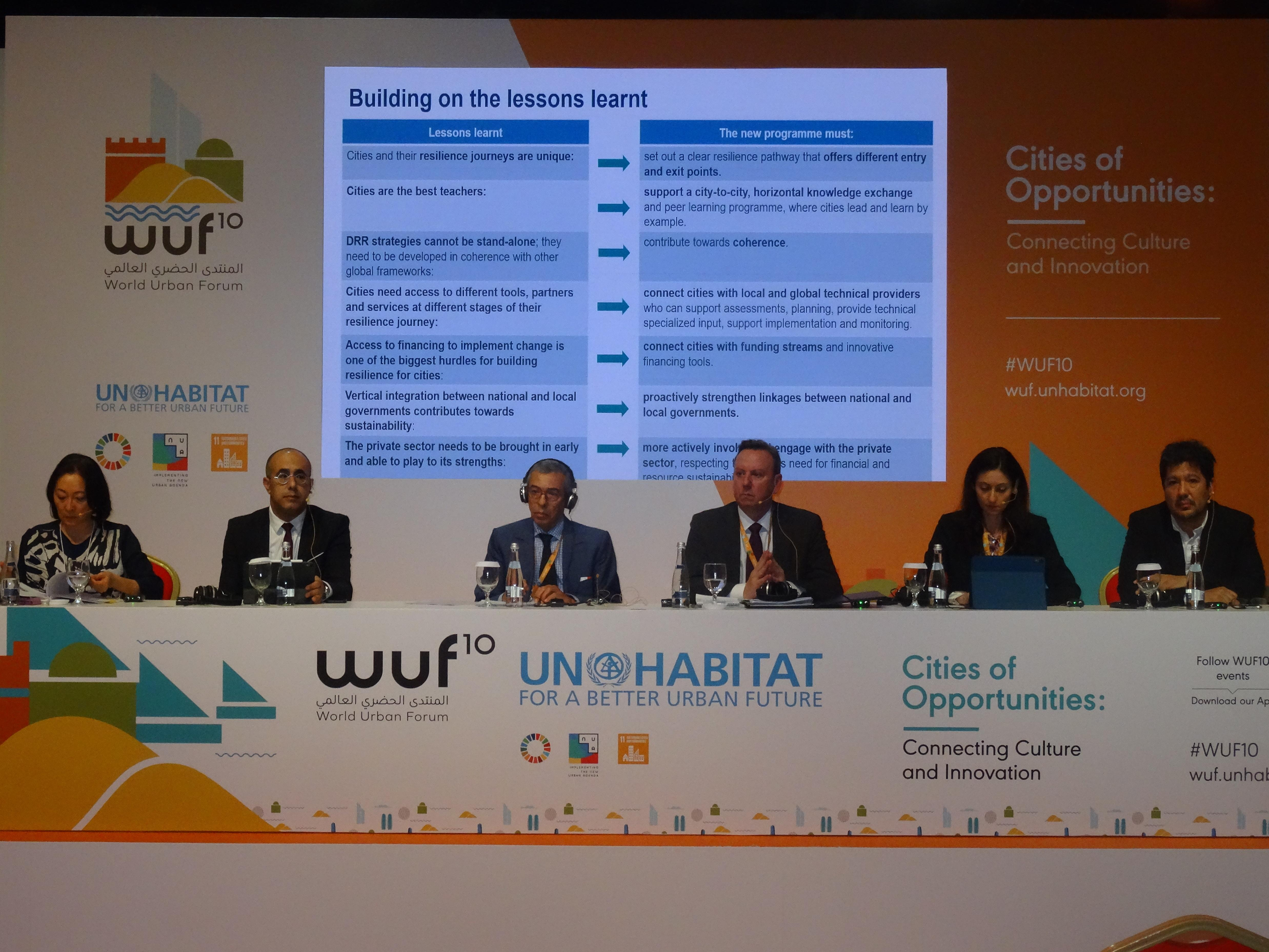 The panellists at a UNDRR event to discuss Making Cities Resilient 2030 at the World Urban Forum
