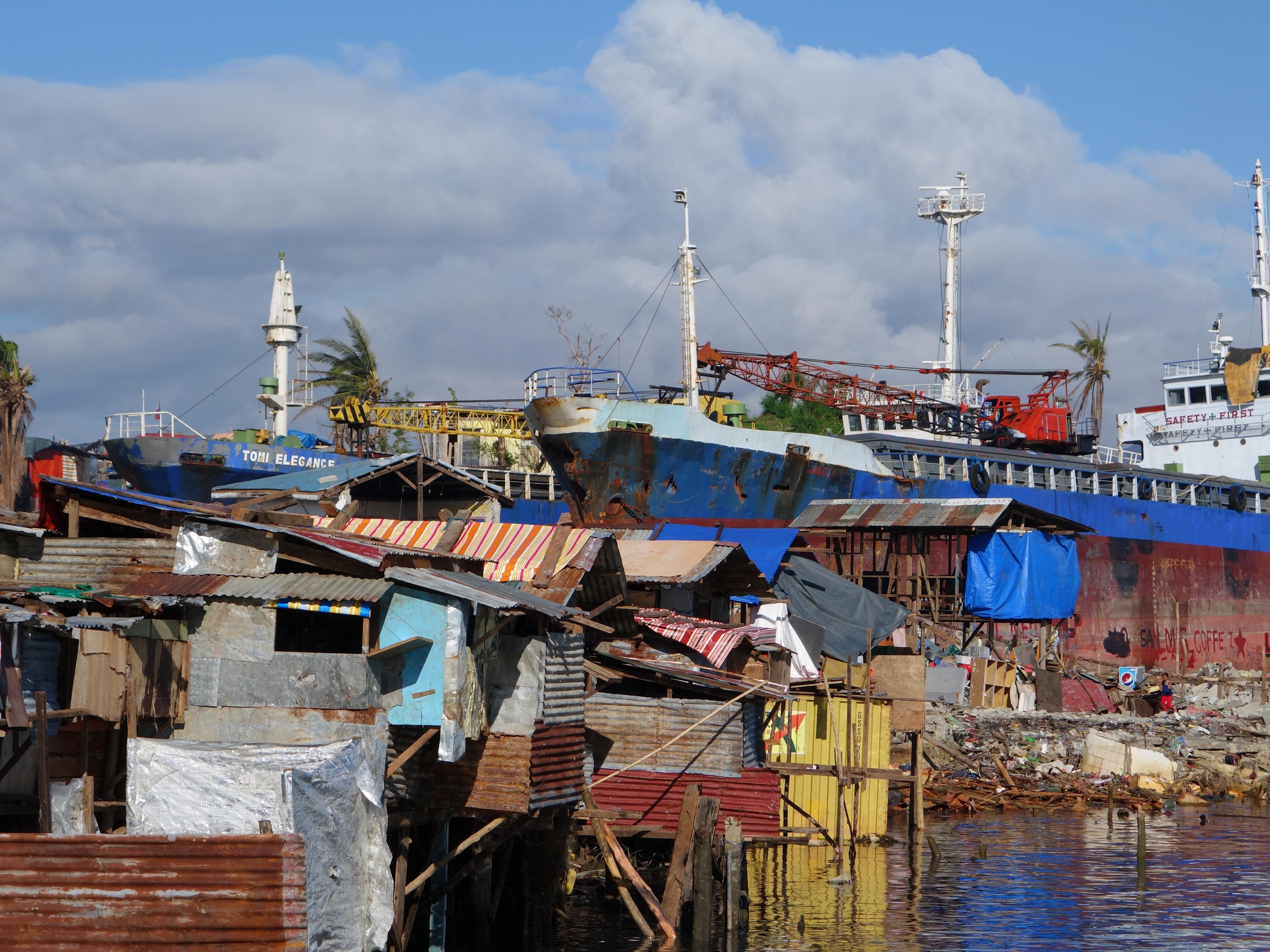 A seaside slum in Tacloban, the Philippines, devastated by Typhoon Haiyan