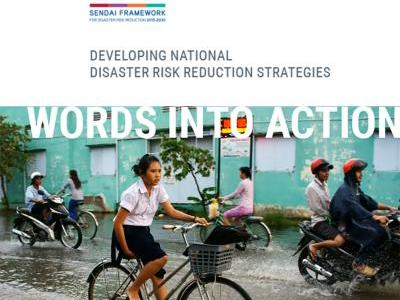 Image of girl on bicycle in a flooded street as the cover image of Words into Action: Developing National Disaster Risk Reduction Strategies