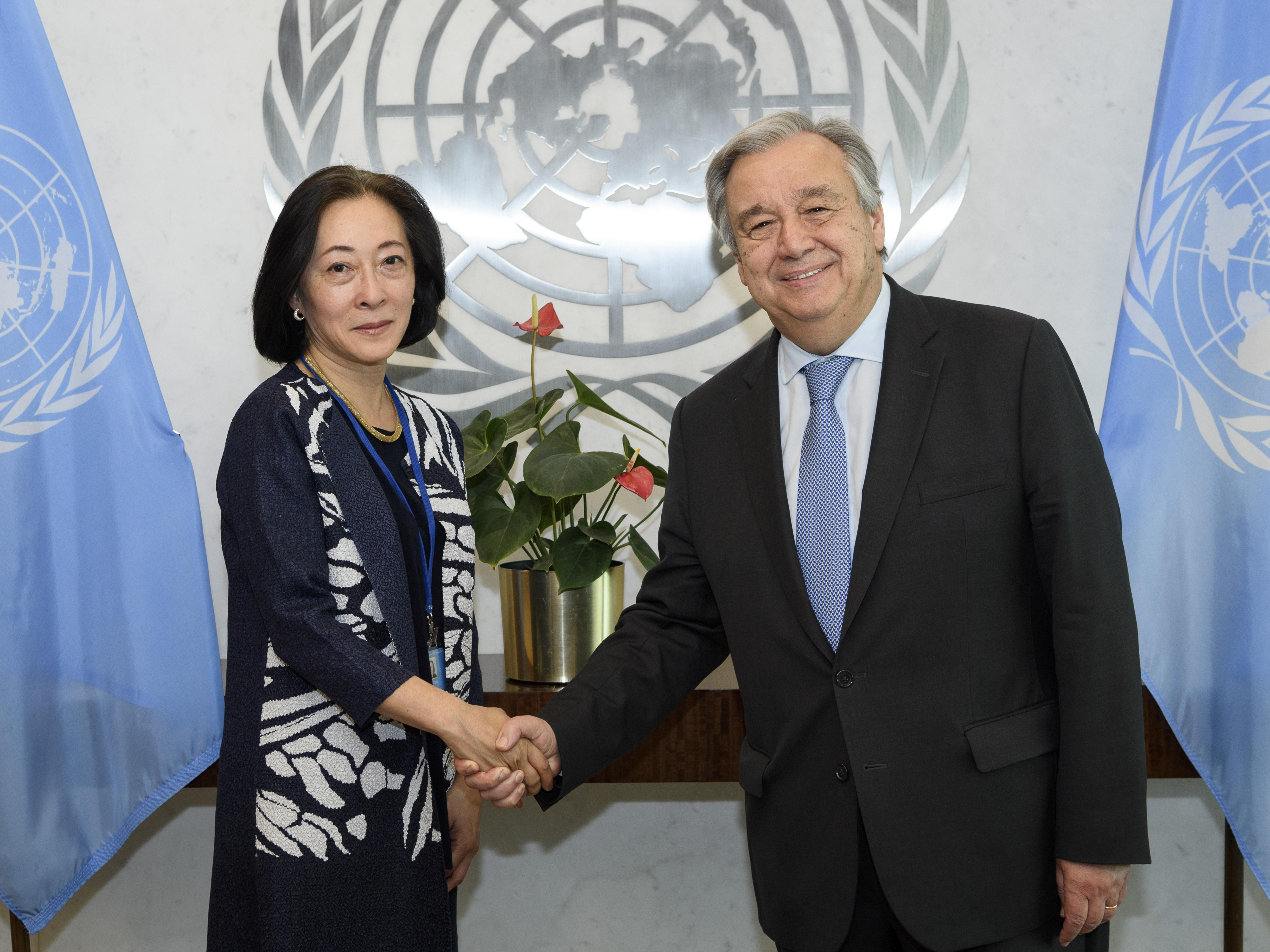 Mami Mizutori, UNDRR head, with the UN Secretary-General, António Guterres
