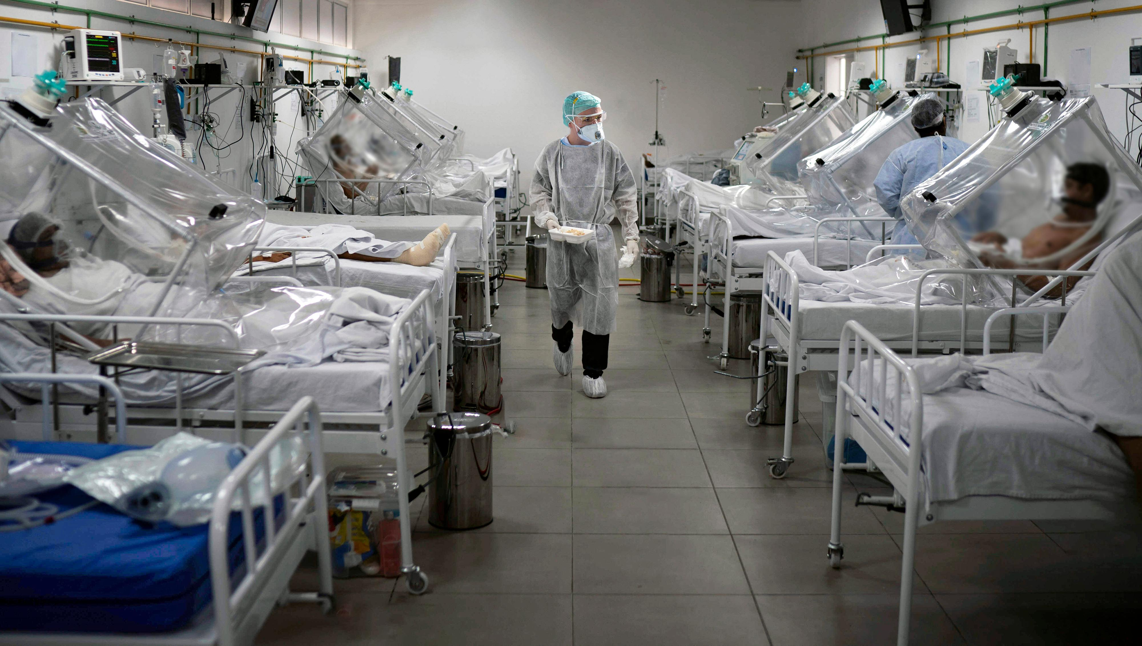 Medical staff work in the Intensive Care Unit (ICU) for COVID-19 multiple patients inside a special hospital in Bergamo, Italy