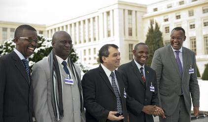 From left to right: Bobi Odiko, East African Legislative Assembly; Abdou Sane, Senegal; Saber Chowdhury, Bangladesh; Alex Byarugaba, Uganda; and Abdirahim H.Abdi, Speaker of East African Legislative Assembly. Not pictured: Saumura Tioulong, Cambodia.