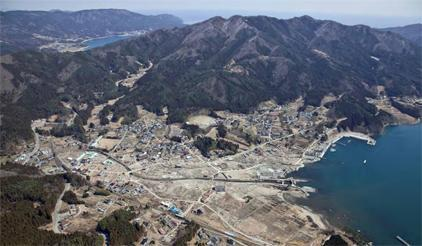Aerial photograph from Kokusai Kogyo Group of one of the damaged cities from the Great Eastern Japan Earthquake and Tsunami