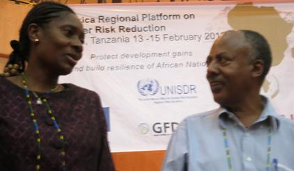Speakers at the 4th Africa Platform on Disaster Risk Reduction, Dulce Chilundo, Mozambique's National Disaster Management Institute, and Tadesse Bekele,Ethiopian Ministry of Agriculture.