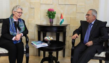 UN Special Representative for Disaster Risk Reduction Margareta Wahlström who met today with Palestinian Prime Minister Salam Fayyad at a start of a week-long visit.