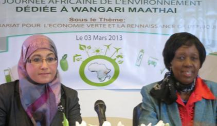 From left: Tunisian Minister for the Environement, Mrs. Mamia El Banna Zayani, and the AU Commissioner, Mrs. Rhoda Peace, at the opening ceremony for the 11th Africa Day for the Environment in Tunis, Tunisia, today.