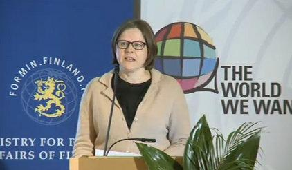 Minister of International Development of Finland, Heidi Hautala, speaking at the opening of the Global Thematic Consultation on Conflict, Violence and Disaster and the Post-2015 development agenda.