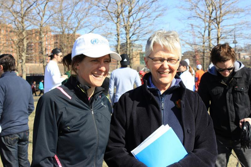 Mayor Dawn Zimmer of Hoboken, NJ and Margareta Wahlström. Chief of UNISDR. The City of Hoboken organized the Hoboken Resilience Run, a 5K and Fun Run for post Hurricane Sandy recovery. The run, which took place on 6 April 2013, was organized in support of UNISDR's Making Cities Resilient Campaign