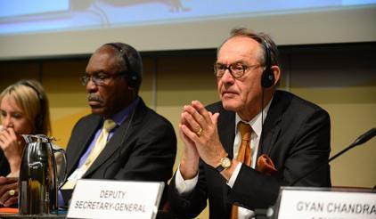 UN Deputy Secretary-General Jan Eliasson listens to the discussions in a featured event on strengthening partnerships towards disaster risk reduction for small island developing states.