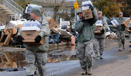 <b>A changing city: </b>New York Air National Guard respond after Sandy, which has prompted a major review of the city's disaster management.