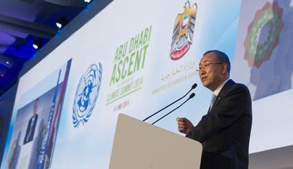 UN Secretary-General Ban Ki-moon addresses opening ceremony of the Abu Dhabi Ascent climate change conference, 04 May 2014, United Arab Emirates. UN Photo/E. Debebe