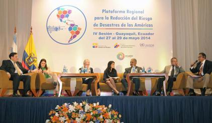 Margareta Wahlström (third from left), Head of UNISDR, in a high-level panel with ministers from selected countries in Latin America and the Caribbean.