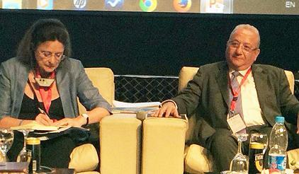 Prof. Virginia Murray, vice-chair, UNISDR Science and Technology Commission, and Prof. Wadid Erian, League of Arab States, spoke on the risks to the Arab region from drought and climate change. (Photo: UNISDR)