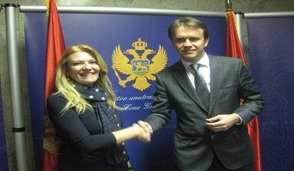 Montenegro's Minister of Interior Mr. Raško Konjević with UNISDR Head of the Regional Office for Europe, Paola Albrito at the launch of the National Platform for DRR, 16 December 2014. (Photo: UNISDR)