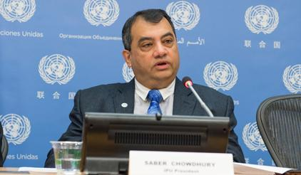 Mr. Saber Chowdhury, President of the Inter-Parliamentary Union, speaking on the Sendai Framework. (Photo: UNISDR)