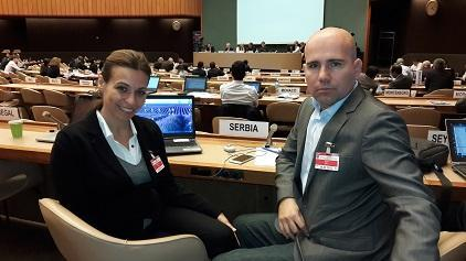 Sandra Nedeljkovic, Deputy Director of Serbia's Government Office for Reconstruction and Flood Relief, and  Ivan Baras, Assistant Head of Sector for Emergency Management, at expert talks on Sendai Framework in Geneva (Photo: UNISDR)