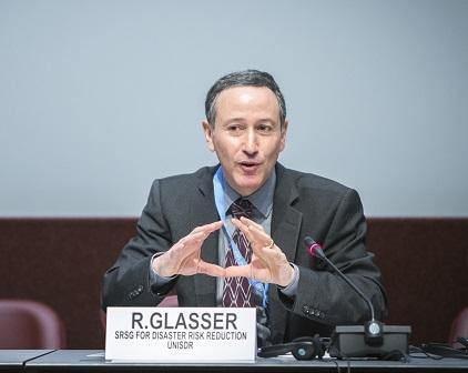 The role of women is critical in disaster risk reduction, says Mr. Robert Glasser, Special Representative of the UN Secretary-General for Disaster Risk Reduction (Photo: UNISDR/Fabio Chironi)