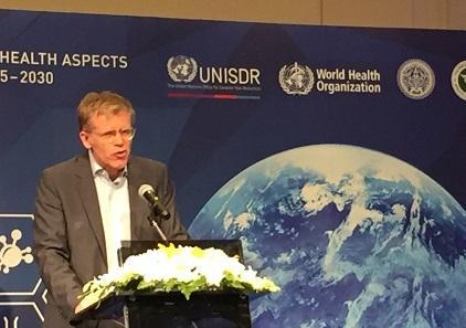 The Sendai Framework is a valuable instrument for ensuring better health outcomes in disasters, according to Dr. Bruce Aylward, Executive Director a.i., Outbreaks and Health Emergencies, World Health Organization (Photo: UNISDR)