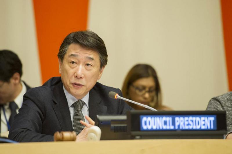 ECOSOC President, Mr. Oh Joon, speaking at the special meeting on the impact of El Niño