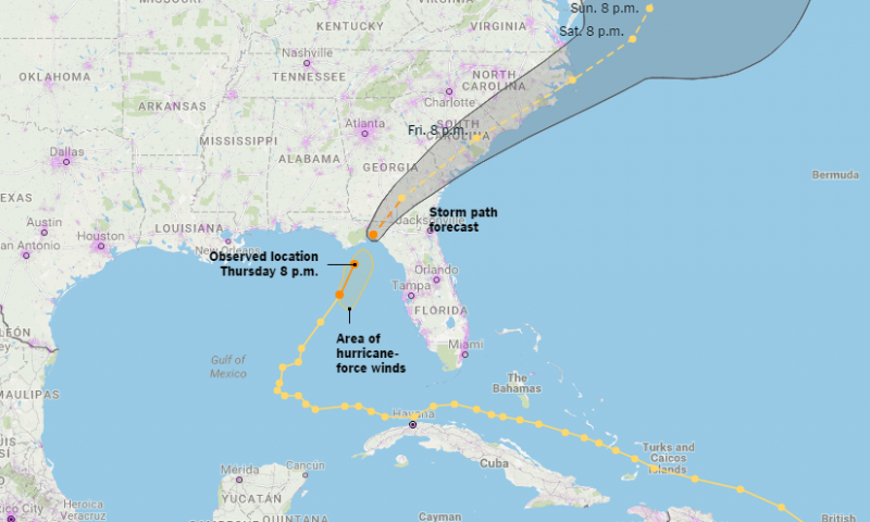 The storm path for Hurricane Hermine which made landfall in Florida earlier today