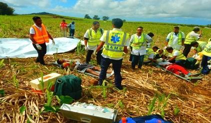 Rescuers providing emergency medical attention to mock survivors on site during AIRTEST16 (Photo: NDRRMC)