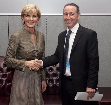 Mr. Robert Glasser, the UN Secretary-General's Special Representative for Disaster Risk Reduction (right) met with Ms. Julie Bishop, Australian Minister for Foreign Affairs, on the sidelines of the UN Summit on Refugees and Migrants