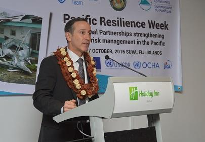 Mr. Robert Glasser, Special Representative of the Secretary-General for Disaster Risk Reduction, addresses the Pacific Platform for Disaster Risk Management in Fiji (Photo: UNISDR)