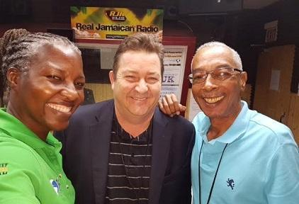 Raising public awareness of disaster risk reduction: UNISDR's Neil McFarlane (centre) with presenters Paula-Anne Porter Jones (left) and Alan Magnus (right) at Radio Jamaica RJR 94FM