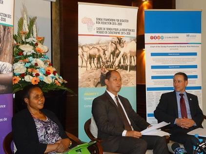 Mauritius Government Minister Alain Wong Yen Cheong (centre) speaking to the media yesterday following the opening of the Africa Regional Platform on Disaster Risk Reduction with Ms. Olushola Olaide of the African Union Commission, and Mr. Robert Glasser, head of UNISDR.