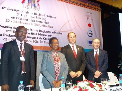 (from left) Mr. Patrick Kangwa, SADC, Mrs. Rhoda Peace Tumusiime, AUC Commissioner, Mr. Alain Wong, Environment Minister, Mauritius, Mr. Robert Glasser, head of UNISDR