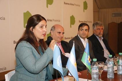 (From left) Ms. Virginia Laino, Provincial Director of Risk Management and Emergencies, Dr. Mariano Goicochea y Garayar, Vice-President of the White Helmets Commission, Mr. Rodrigo Silvosa, Undersecretary of Hydraulics, and Mr. Néstor Gil Coner, Provincial Office for Sustainable Development (Photo: Government of Argentina)
