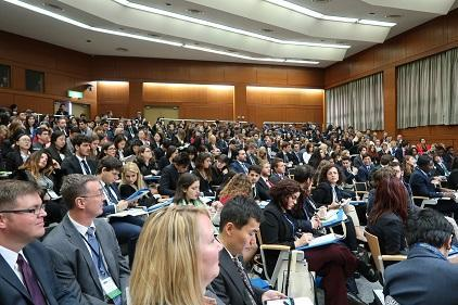 350 students from 11 countries took part in the forum on disaster risk reduction during the National Model United Nations (Photo: UNISDR)
