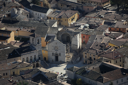 The destruction of the Basilica San Benedetto in the town of Norcia was emblematic of the cultural heritage impacts of the earthquakes in central Italy in 2016 (Photo: Italian Civil Protection Department)