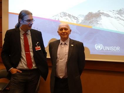 Dr. Jan Danhelka (left), Czech Hydrometeorological Institute, and Prof. Pavel Danihelka, Technical University of Ostrava, at their presentation to the UNISDR Support Group (Photo: UNISDR)