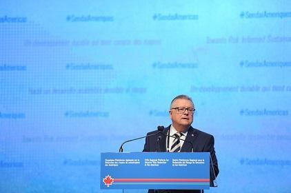 "Mr. Ralph Goodale, Canada's Minister of Public Safety and Emergency Preparedness, said the 5th Regional Platform for Disaster Risk Reduction in the Americas is set to endorse a ""robust"" plan for curbing the risks posed by natural and human-induced hazards (Photo: Public Safety Canada/UNISDR)"