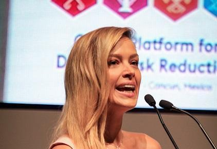 Tsunami survivor and campaigner, Petra Nemcova, speaking to the Multi-Hazard Early Warning Conference