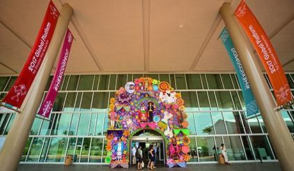 Traditional decorative panel outside the GP2017 conference centre in Cancun (photo: Jon Halty/UNISDR)