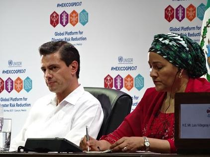 President of Mexico, Mr. Enrique Peña Nieto, and the UN Deputy Secretary-General, Ms. Amina Mohammed, listen to a speech at the opening of the Global Platform for Disaster Risk Reduction (Photo: UNISDR)