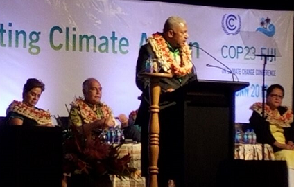 Prime Minister Bainimarama of Fiji speaking at the pre-COP23 meeting in Nadi, Fiji (photo: UNISDR)