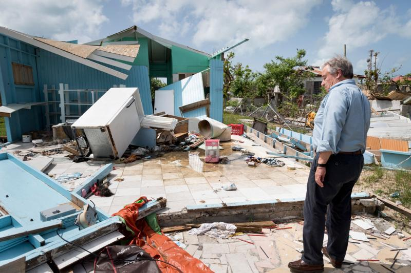António Guterres on a recent visit to the Caribbean island of Barbuda which was devastated by Hurricane Irma