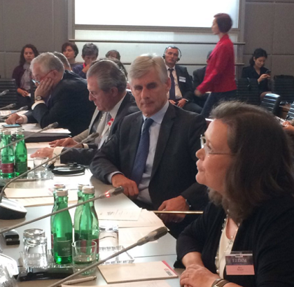 (l-r) Michael Linhart, Austrian Deputy Minister for Europe, Integration and Foreign Affairs listens to Kirsi Madi, UNISDR Director speaking at the OSCE Economic and Environmental Dimension Implementation Meeting