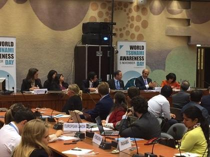The panel at today's discussion on World Tsunami Awareness Day at the UN in Geneva