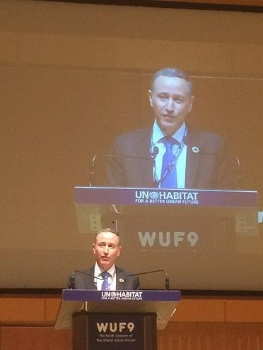 UNISDR head Robert Glasser speaking at the World Urban Forum in Kuala Lumpur, Malaysia