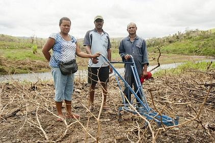 Cyclone Winston wiped out the eggplant, chilli, cow pea and spinach crop of these three farmers. Fiji's new DRR Policy seeks to strengthen agricultural livelihoods. (Photo: UN Women)