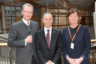 (from left) Idar Kreutzer, CEO of Finance Norway,  Robert Glasser, head of UNISDR, and Cecilie Daae, Director, Norwegian Directorate for Civil Protection (DSB)