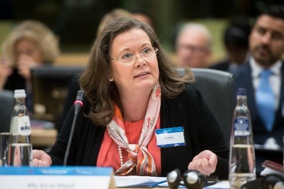 "UNISDR Director, Kirsi Madi, speaking at the EU high-level event ""Climate, Peace and Security: The Time for Action"""